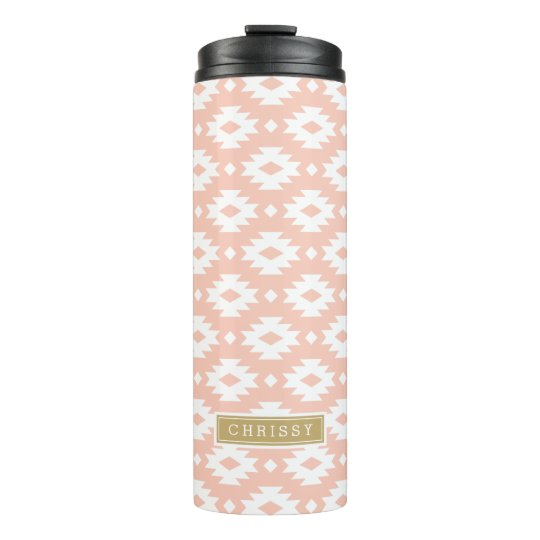Peach and Gold Aztec Monogram Thermal Tumbler