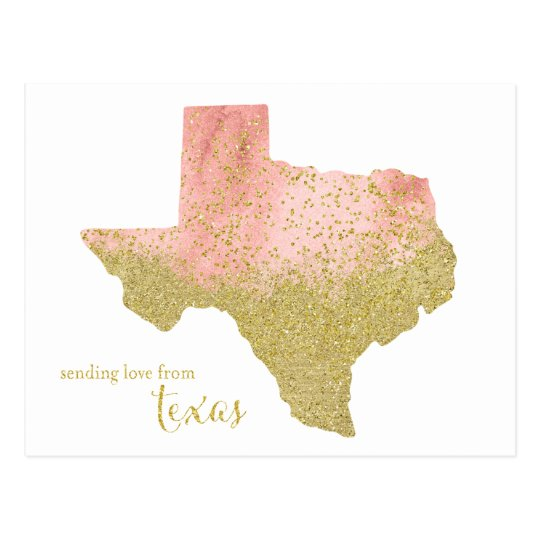 Peach and Gold Glitter Sending Love From Texas Postcard