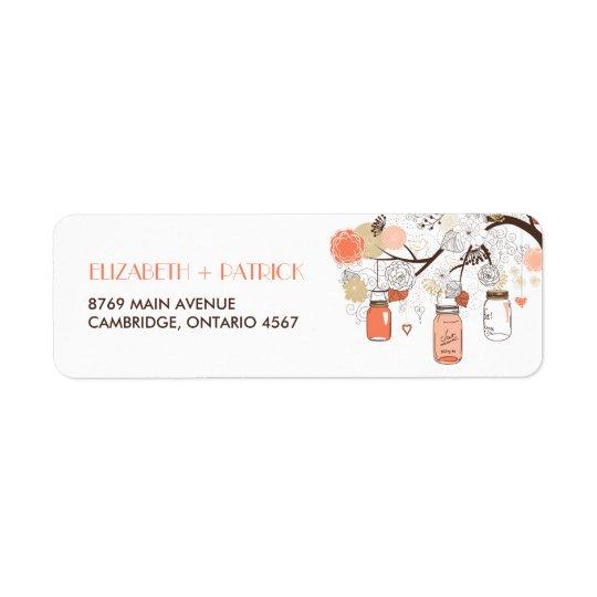 Peach and Gold Mason Jars Spring Address Label