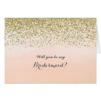 Peach and Gold Will You Be My Bridesmaid Card