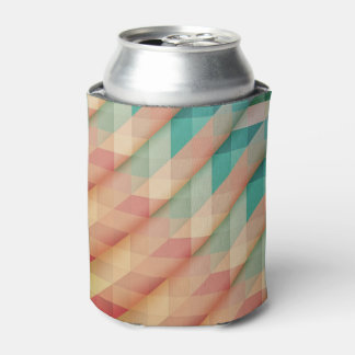 Peach and Green Abstract Geometric Can Cooler