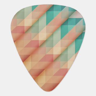 Peach and Green Abstract Geometric Plectrum