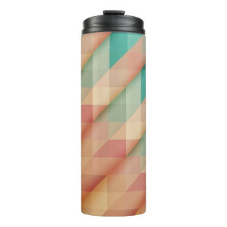 Peach and Green Abstract Geometric Thermal Tumbler