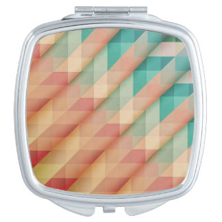 Peach and Green Abstract Geometric Vanity Mirrors