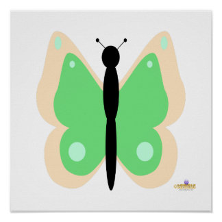Peach And Green Butterfly Poster