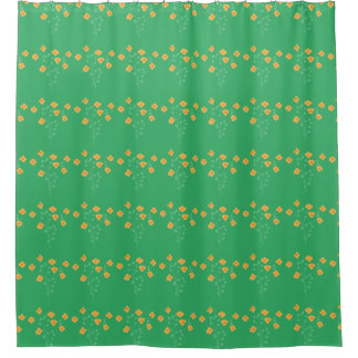 Peach And Green Floral Shower Curtain