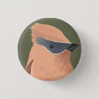 peach and grey bird 3 cm round badge