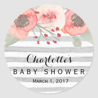 Peach and grey floral baby shower sticker