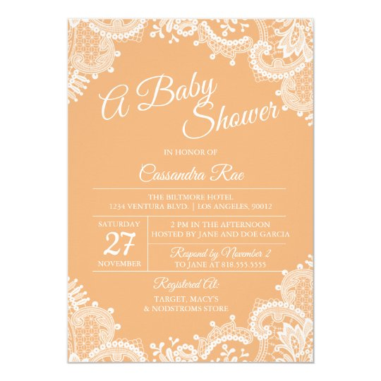 Peach and Lace Baby Shower Invitation