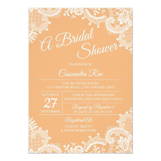 Peach and Lace Bridal Shower Invitation