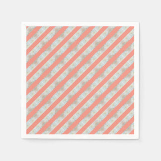 Peach And Marble Stripes Pattern Disposable Serviette