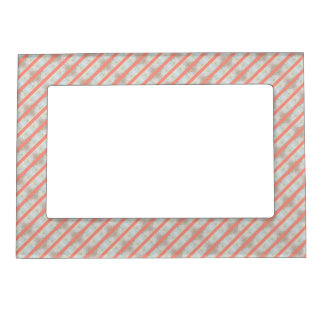Peach And Marble Stripes Pattern Magnetic Picture Frame