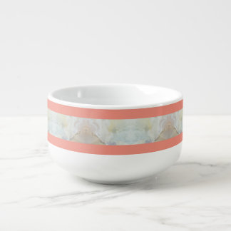 Peach And Marble Stripes Pattern Soup Mug