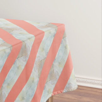 Peach And Marble Stripes Pattern Tablecloth