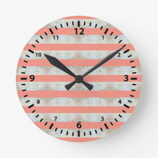 Peach And Marble Stripes Pattern Wallclock