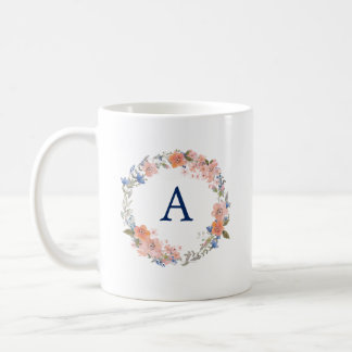 Peach and Navy Boho Wreath Monogram Mug