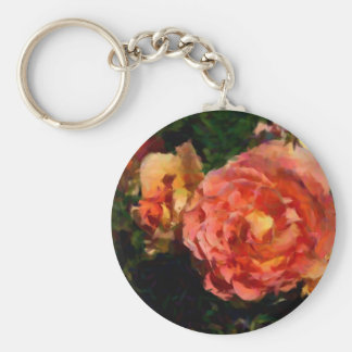 Peach And Orange Products Basic Round Button Key Ring