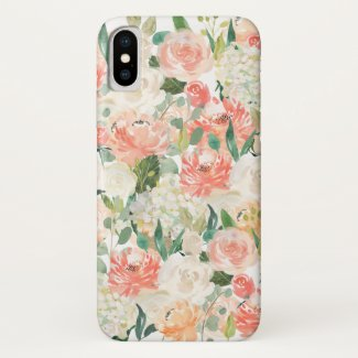 Peach and Pink Feminine Watercolor Floral iPhone X Case