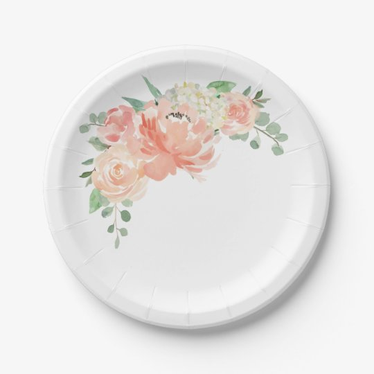 Peach And Pink Pastel Watercolor Floral Paper Plate Zazzle