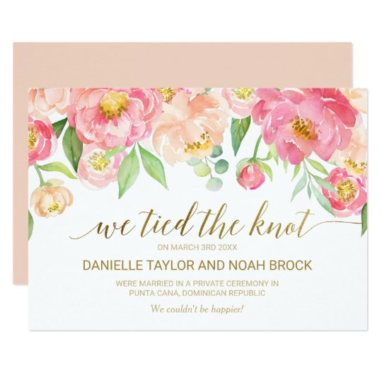 Peach and Pink Peony Flower Elopement Announcement