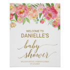 Peach and Pink Peony Flowers Baby Shower Welcome Poster