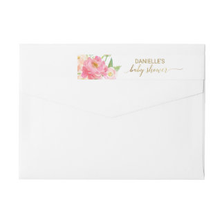 Peach and Pink Peony Flowers Baby Shower Wrap Around Label