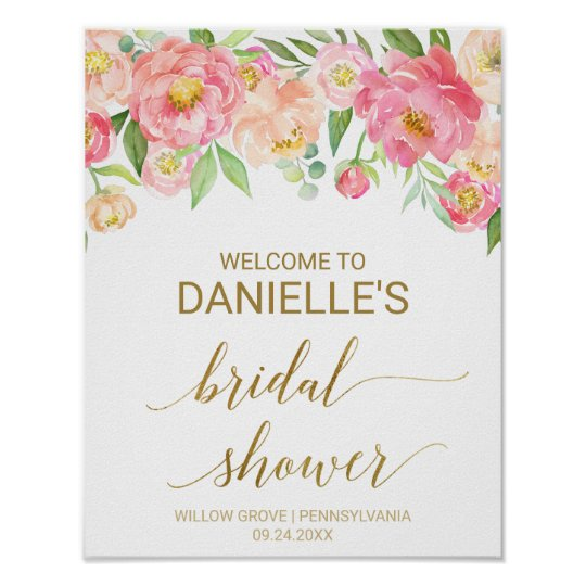 Peach and Pink Peony Flowers Bridal Shower Welcome