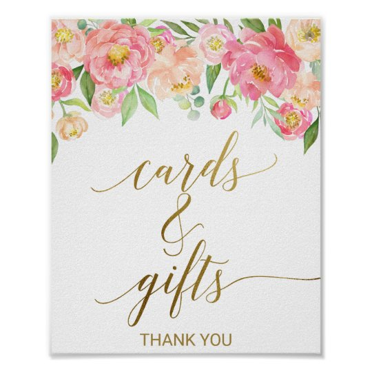 Peach and Pink Peony Flowers Cards and Gifts