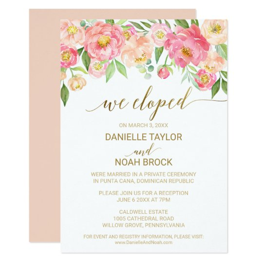 Peach and Pink Peony Flowers Elopement Reception Card