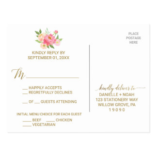 Peach and Pink Peony Flowers Menu Choice RSVP Postcard