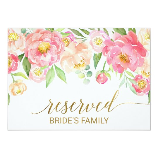 """Peach and Pink Peony Flowers """"Reserved"""" Sign Card"""