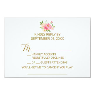 Peach and Pink Peony Flowers Song Request RSVP Card