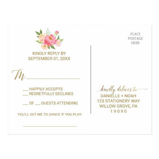 Peach and Pink Peony Flowers Song Request RSVP