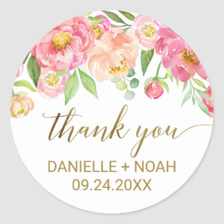 Peach and Pink Peony Flowers Thank You Favor Round Sticker