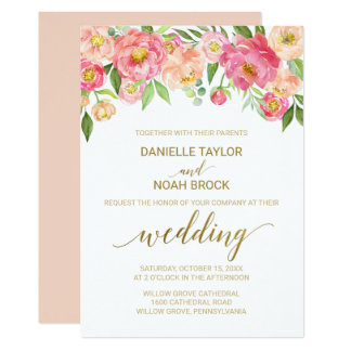 Peach and Pink Peony Flowers Wedding Card