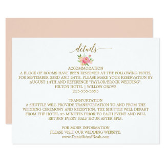 Peach and Pink Peony Flowers Wedding Details Card