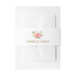 Peach and Pink Peony Flowers Wedding Invitation Belly Band