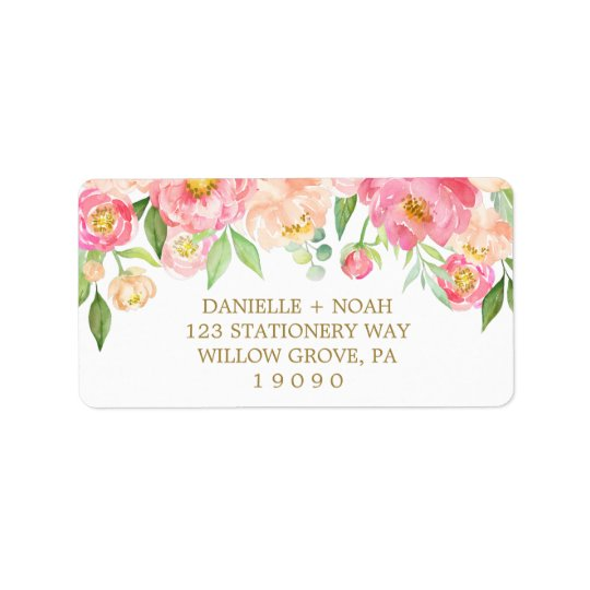 Peach and Pink Peony Flowers Wedding Label