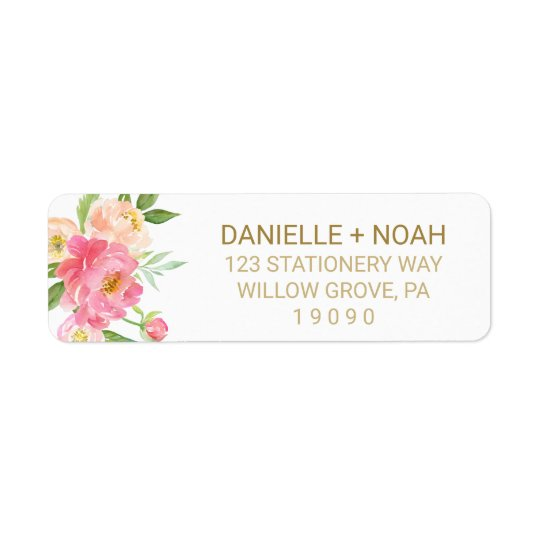 Peach and Pink Peony Flowers Wedding Return Address