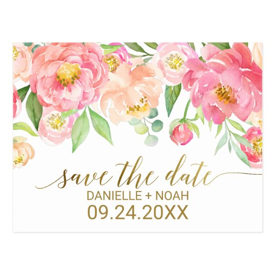 Peach and Pink Peony Flowers Wedding Save the