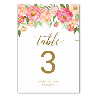 Peach and Pink Peony Flowers Wedding Table Number