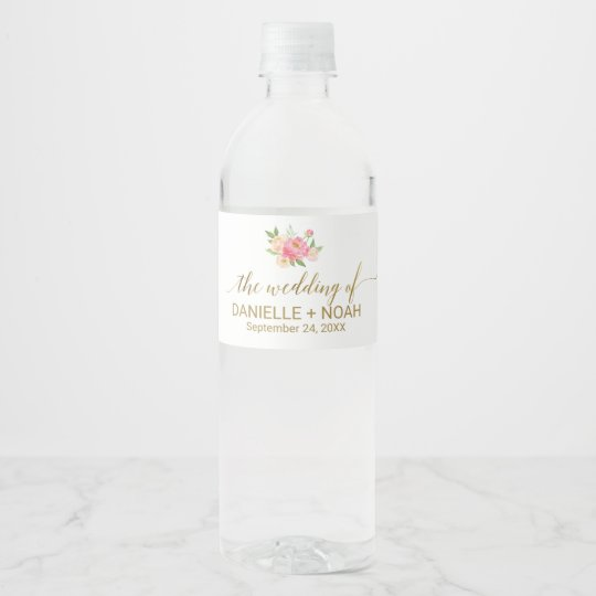 Peach and Pink Peony Flowers Wedding Water Bottle