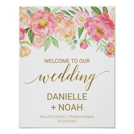 Peach and Pink Peony Flowers Wedding Welcome Poster