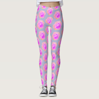 Peach and Pink Rose Leggings