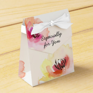 Peach and Pink Watercolor Floral Favour Box