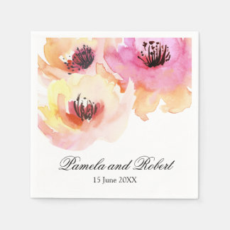 Peach and Pink Watercolor Floral Wedding Disposable Serviettes