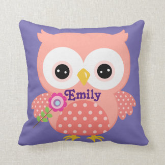Peach and Purple Owl Baby Keepsake Cushion