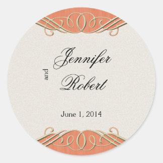 Peach and Sage Elegant Scroll Envelope Seal Round Sticker