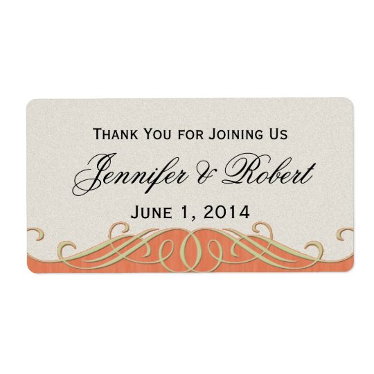 Peach and Sage Elegant Scroll Water Bottle Label