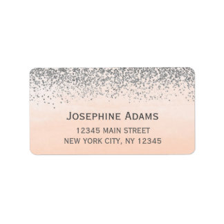 Peach and Silver Address Labels